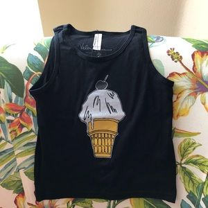 NWT Toddler ice cream cone black tank top